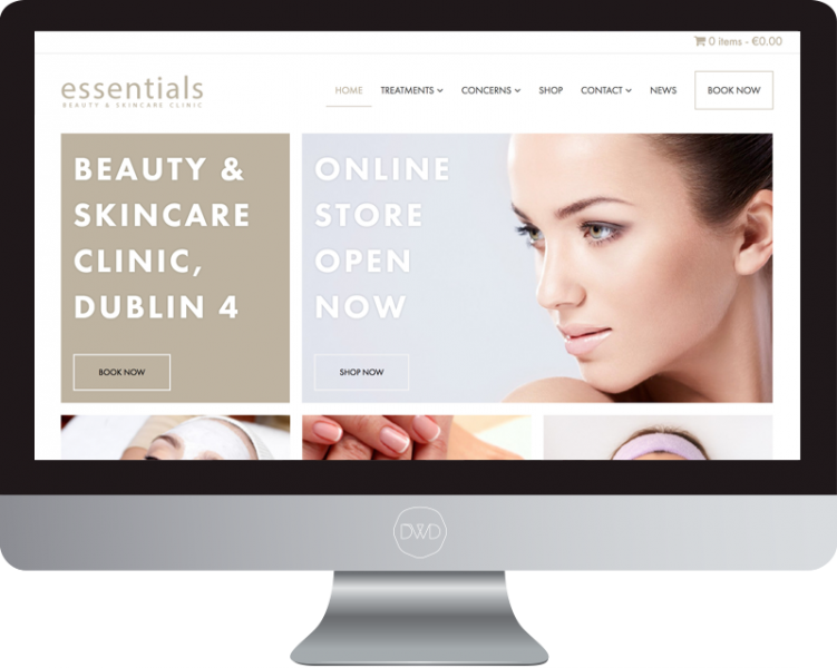 Essentials Beauty And Skin Care Clinic Website Design Dublin App Design Development Ranelagh Web Mobile Hybrid